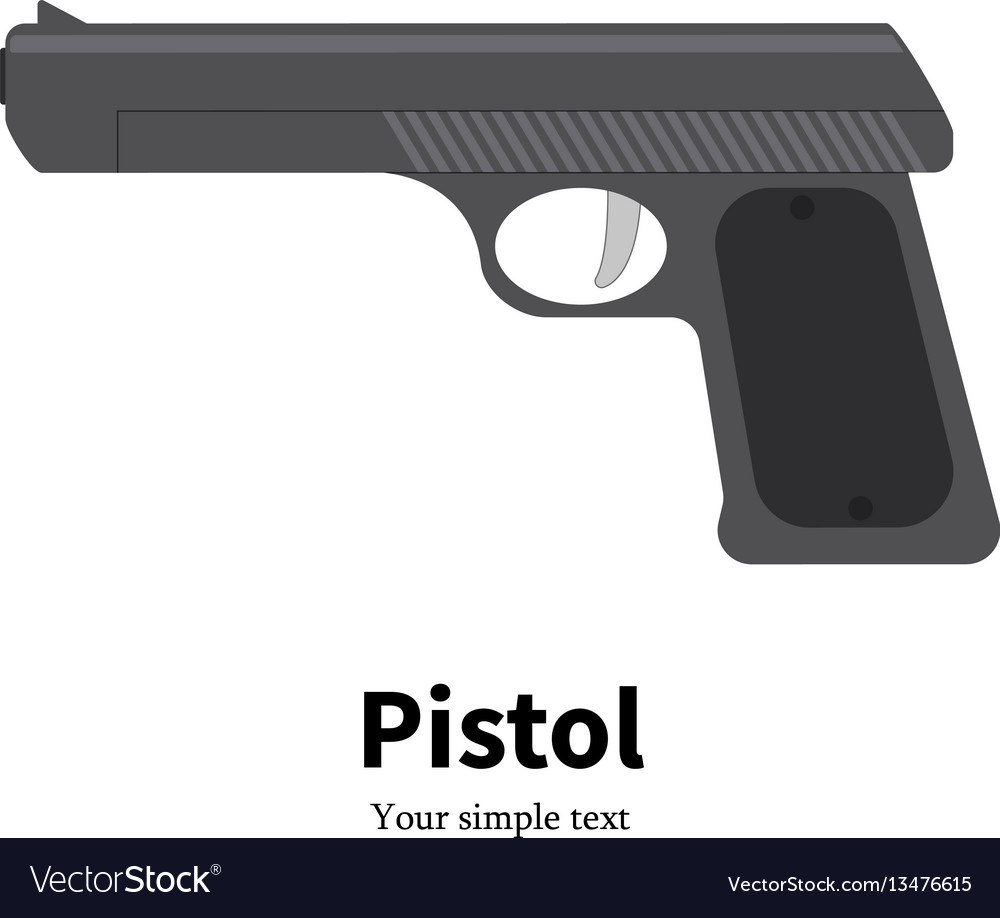 Flat black pistol icon vector image