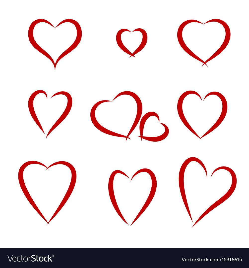 Hearts drawing set vector image