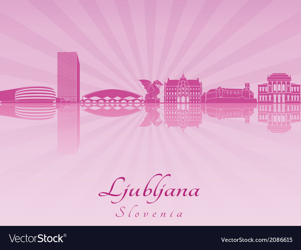Ljubljana skyline in purple radiant orchid vector image