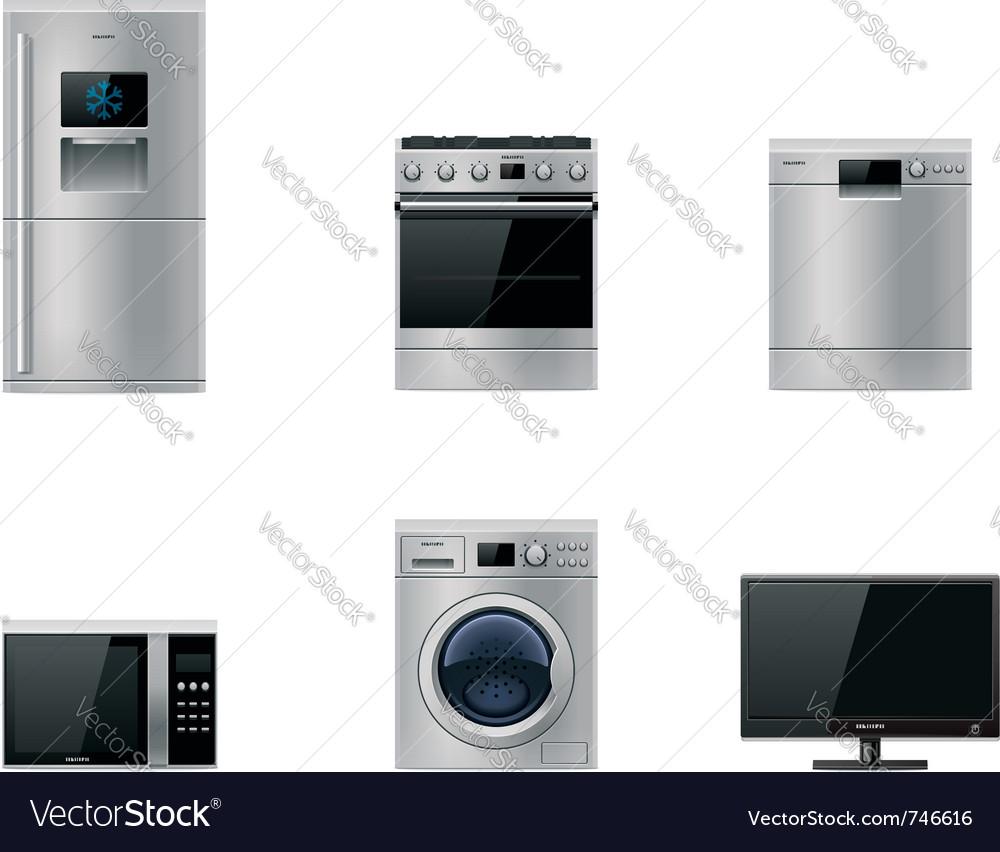 Major appliances set Vector Image