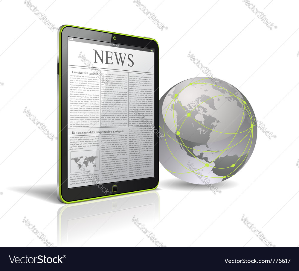 Generic tablet pc with globe vector image