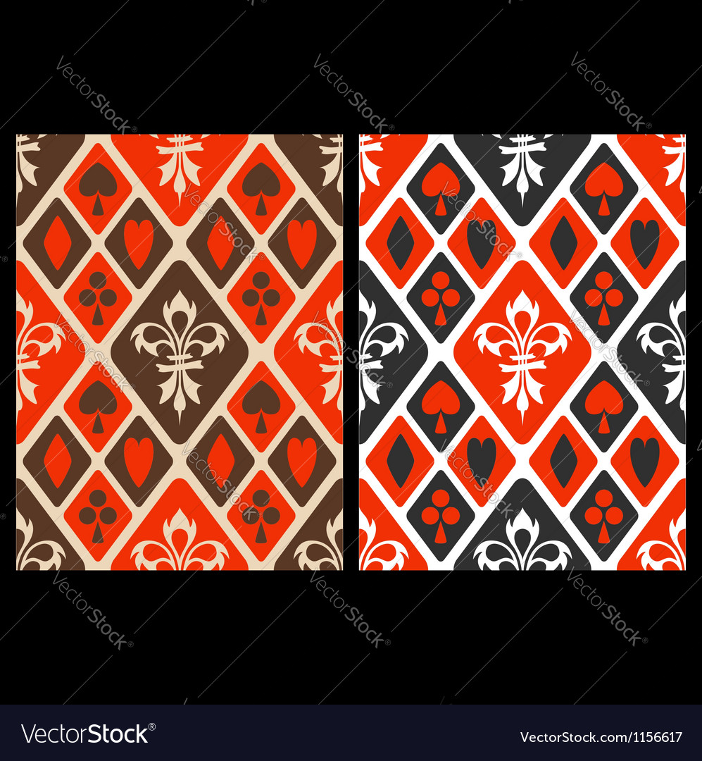 Seamless card suits patterns vector image