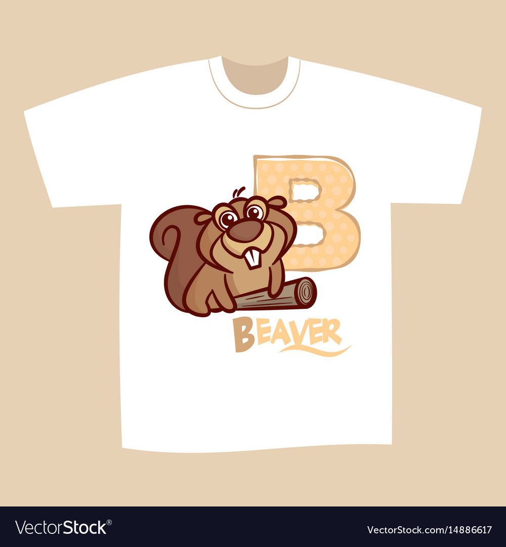 T shirt print design letter b beaver royalty free vector for T shirt printing business proposal letter