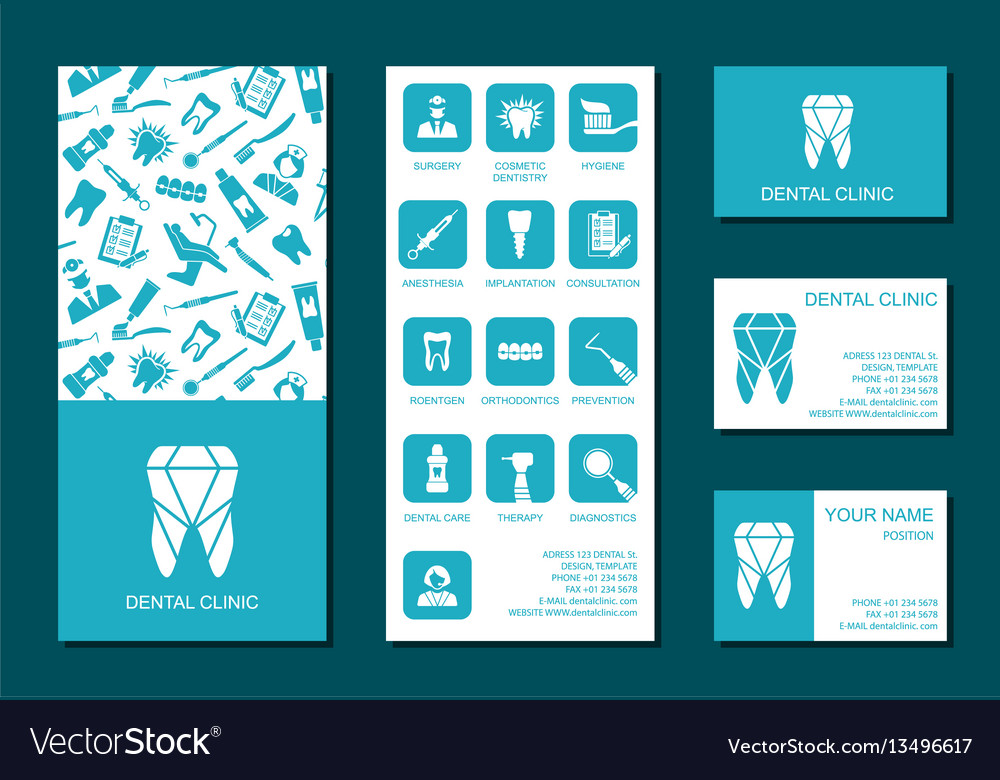Template of flyer and business cards for dental vector image reheart Gallery