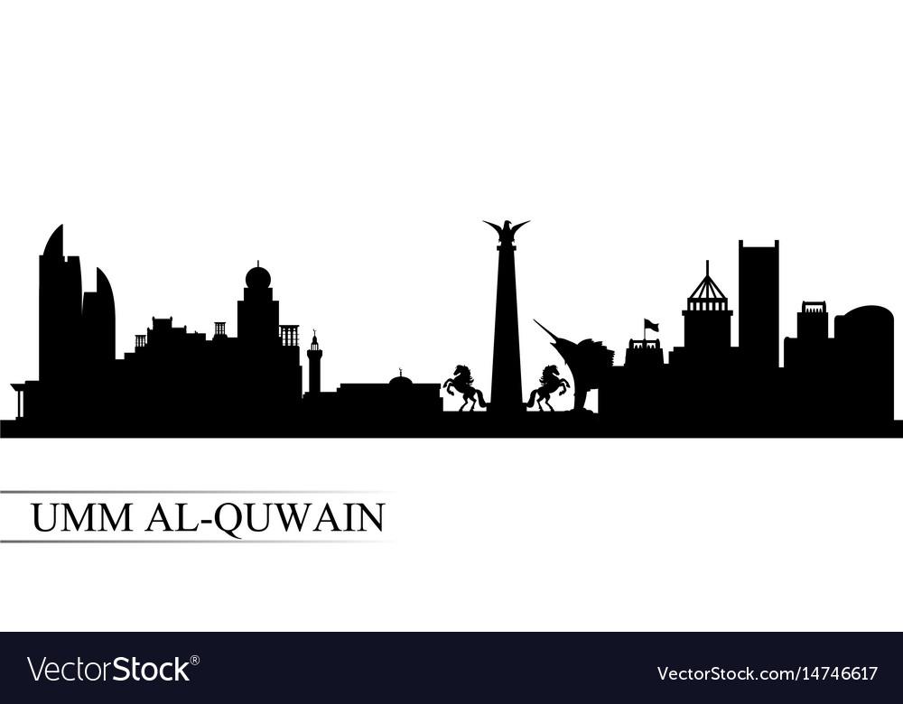 Umm al-quwain city skyline silhouette background vector image
