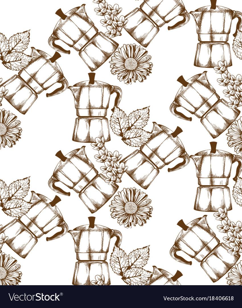 Coffee kettle vintage retro pattern vector image
