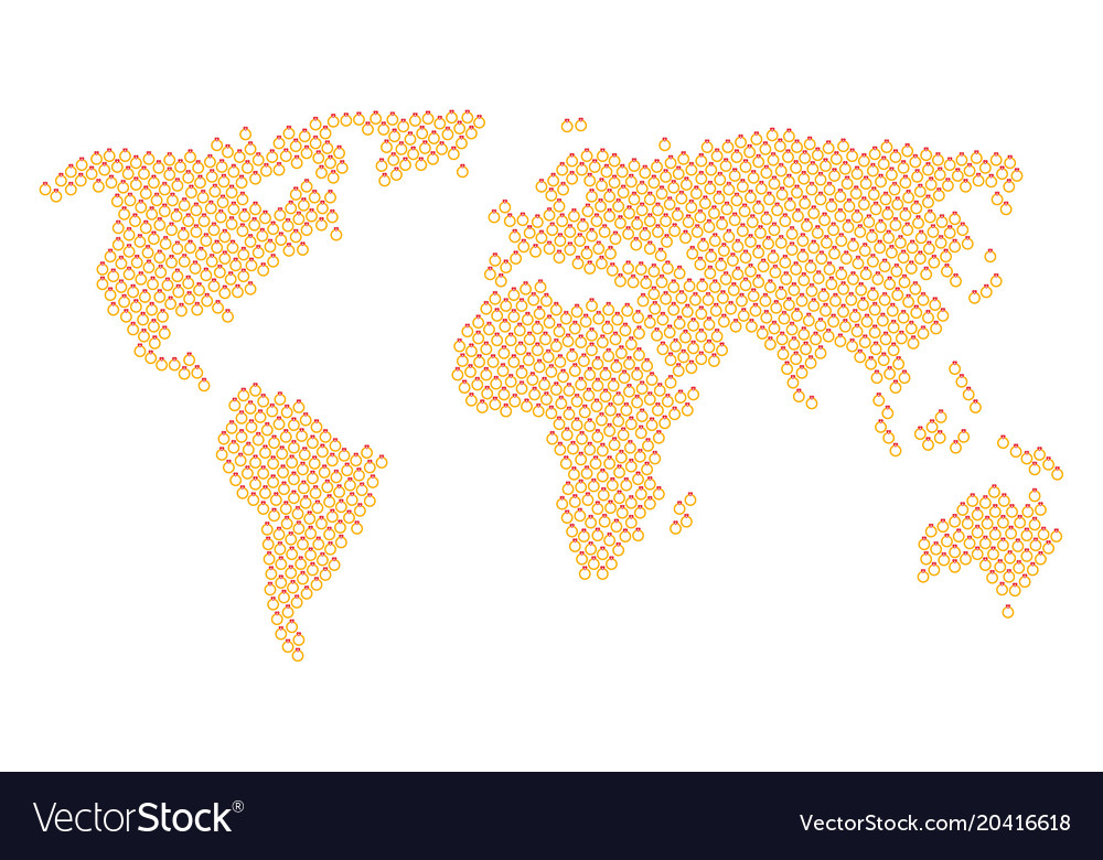 Global map collage of ruby ring icons royalty free vector global map collage of ruby ring icons vector image gumiabroncs
