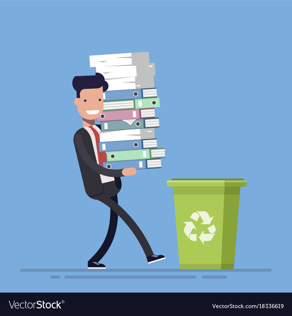 Businessman or manager throws paper documents into vector image