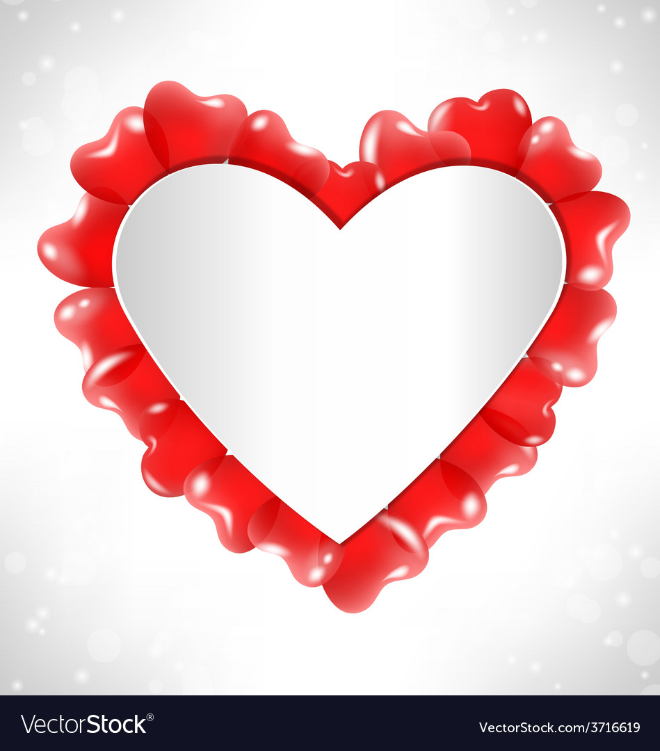 Frame in the shape of a heart for text with red vector image