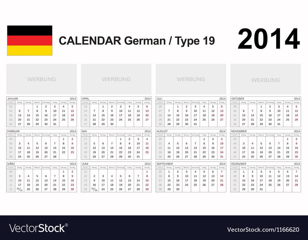 Calendar 2014 German Type 19 vector image