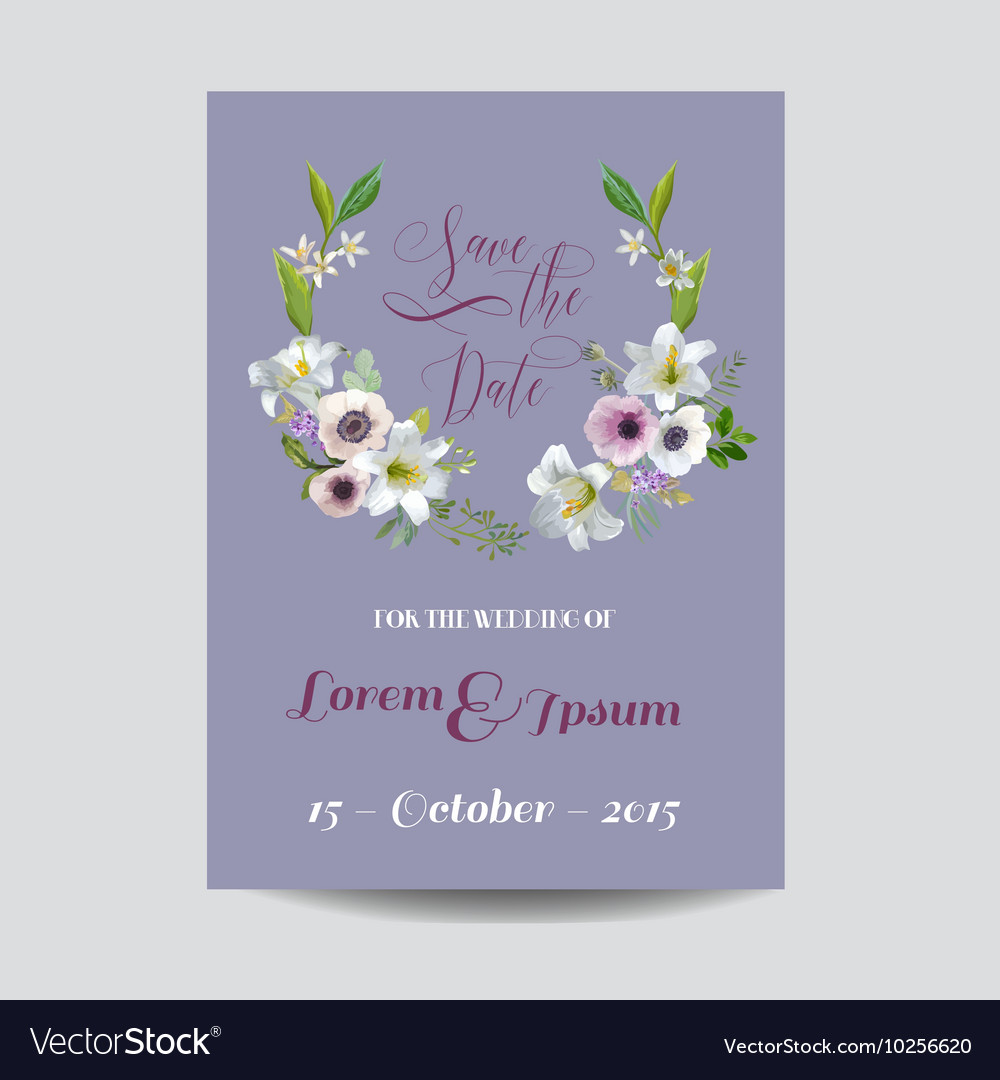 Wedding Card Lily and Anemone Flowers vector image