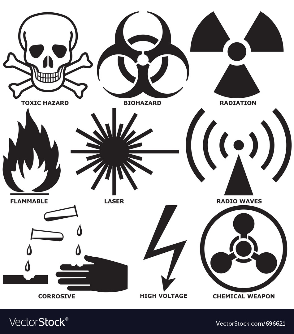Warning and hazard symbols vector image