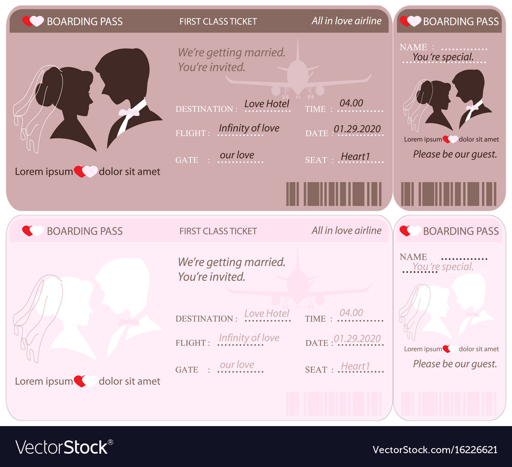 Boarding pass ticket wedding invitation template vector image