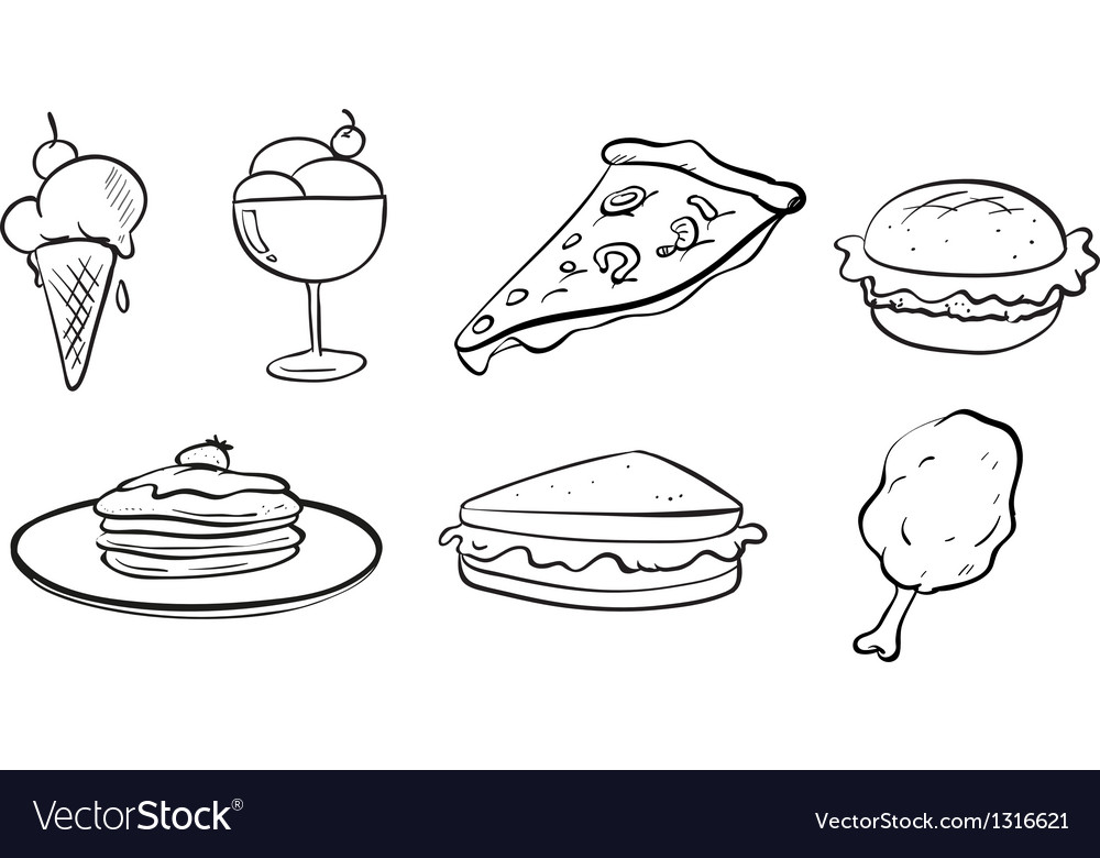 Doodle designs of the different foods vector image