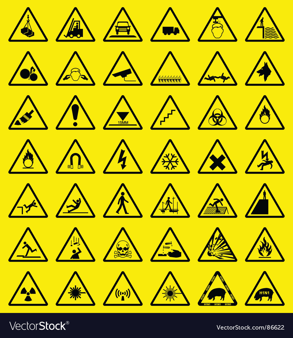 Hazard sign collection vector image