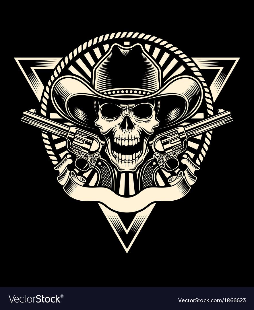 Cowboy skull with revolver vector image