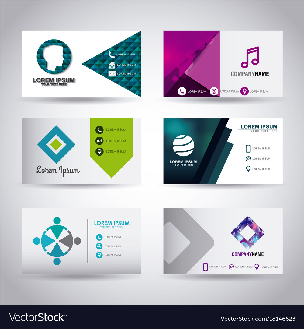 Set of themed business card presentation templates set of themed business card presentation templates vector image wajeb Images