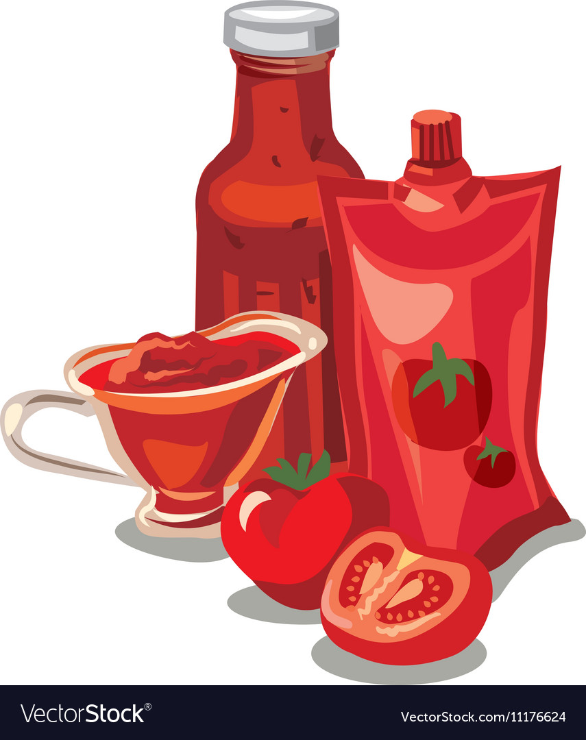 Tomato ketchup and sauce vector image