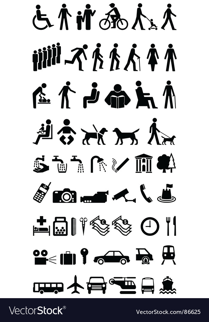 Signage people graphics collection vector image