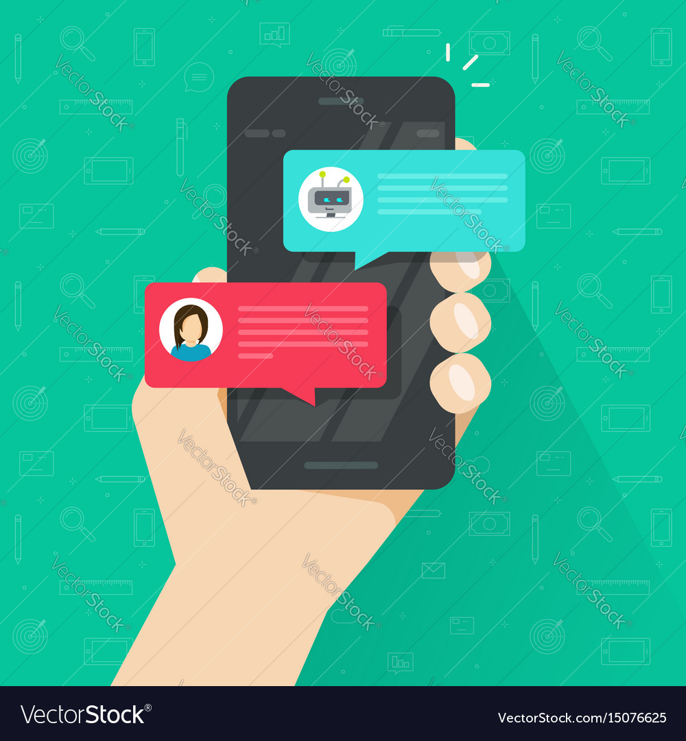 Person chatting with chatbot in mobile phone vector image