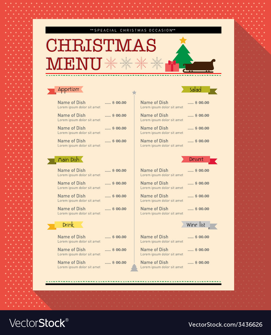 Christmas menu food and drink design template vector image