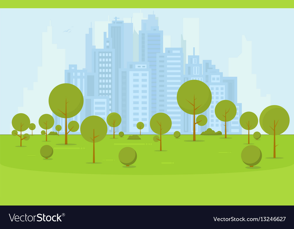 City park with buildings vector image