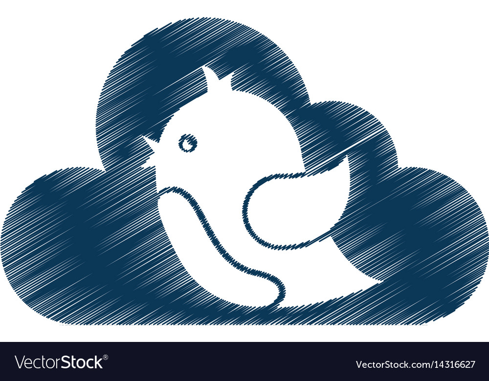 Cloud computing with social bird isolated icon vector image
