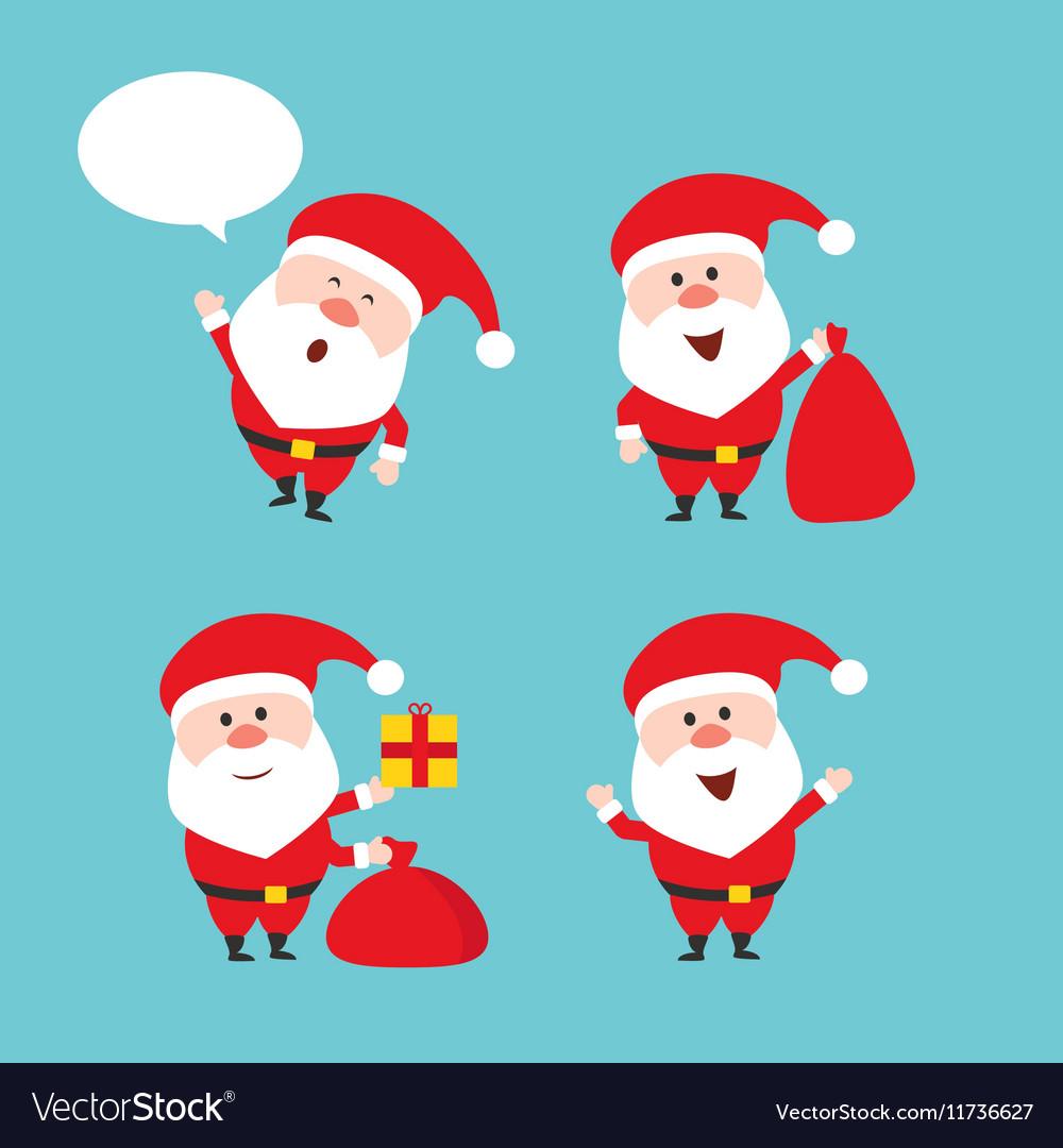 Cute funny Santa Claus set Merry vector image