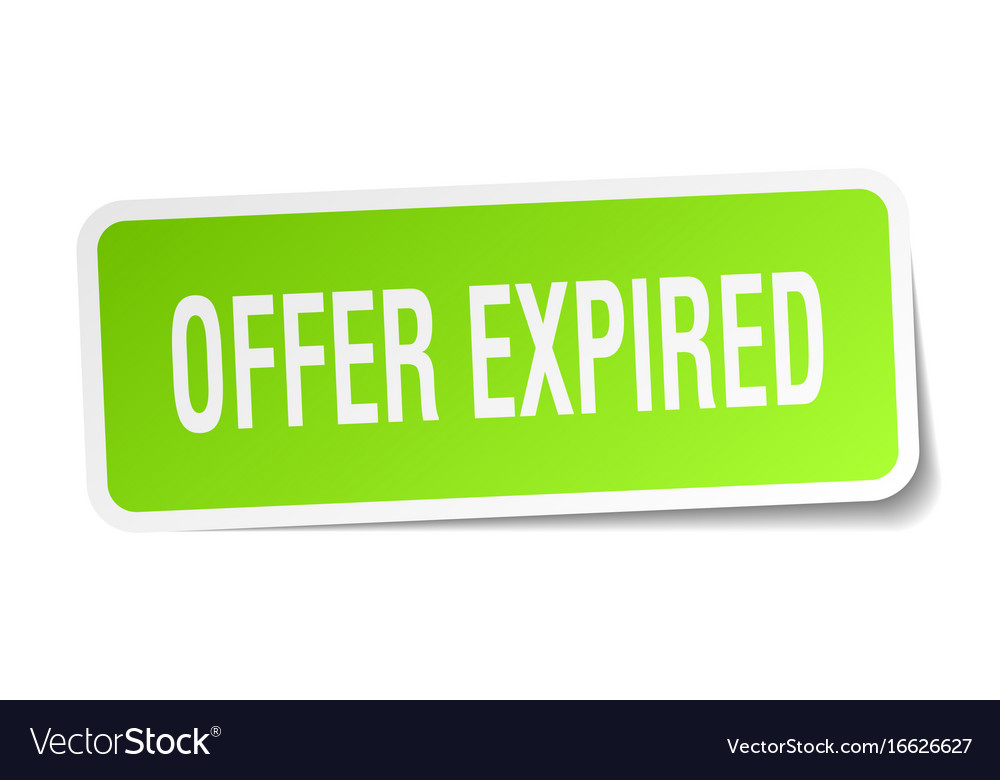 Offer expired square sticker on white vector image