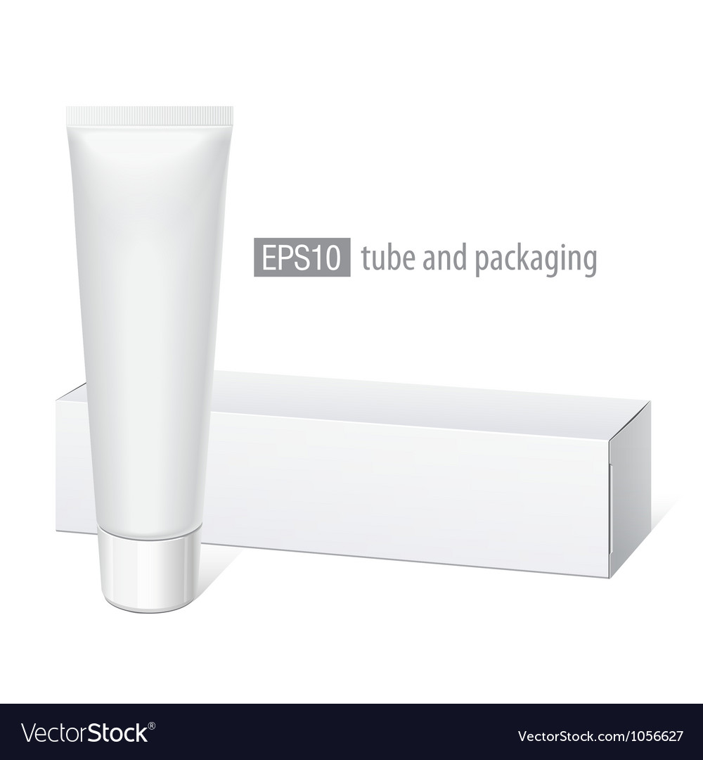 Realistic white tube and packaging vector image