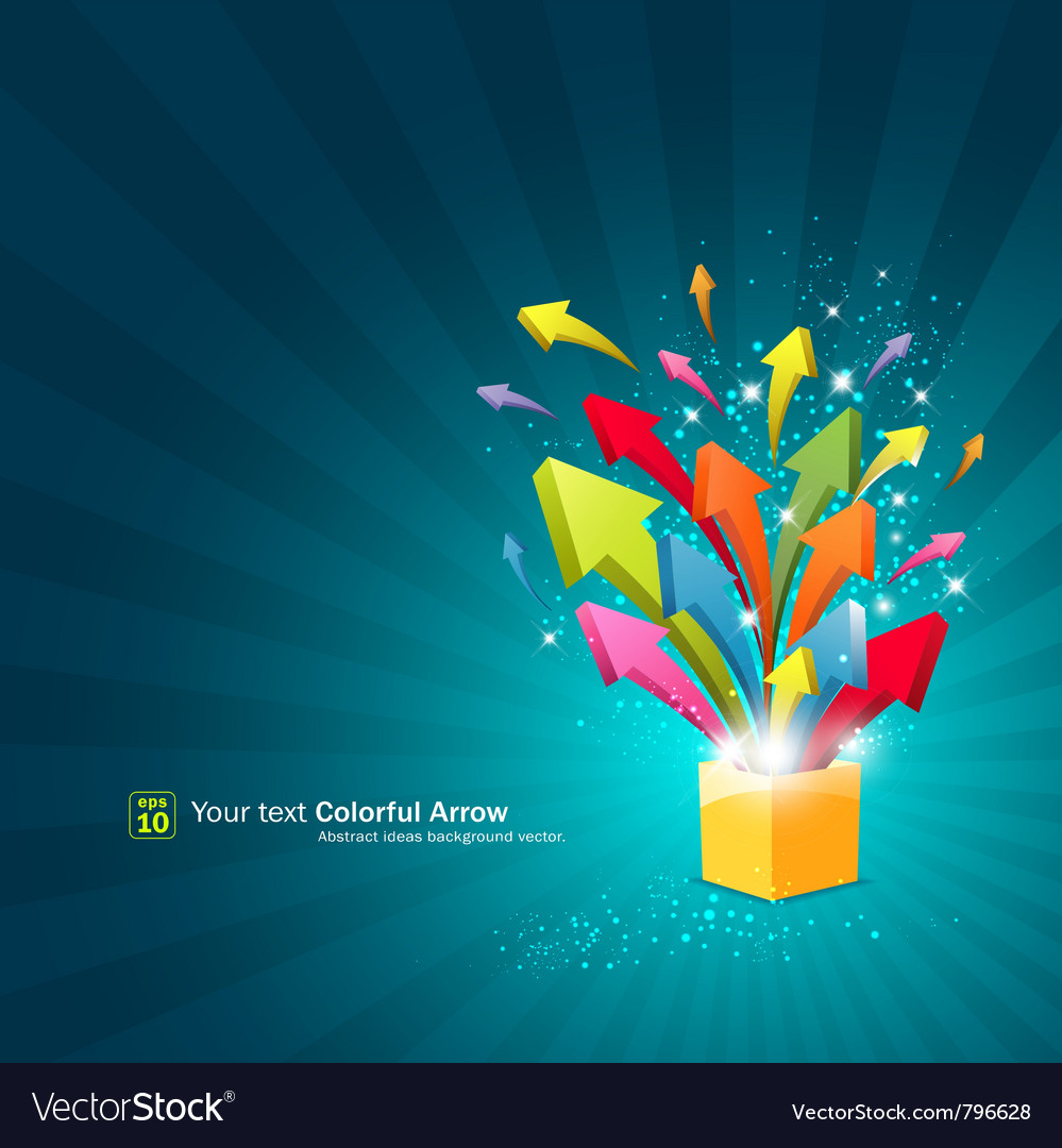 Arrow magic box with sparkling light vector image