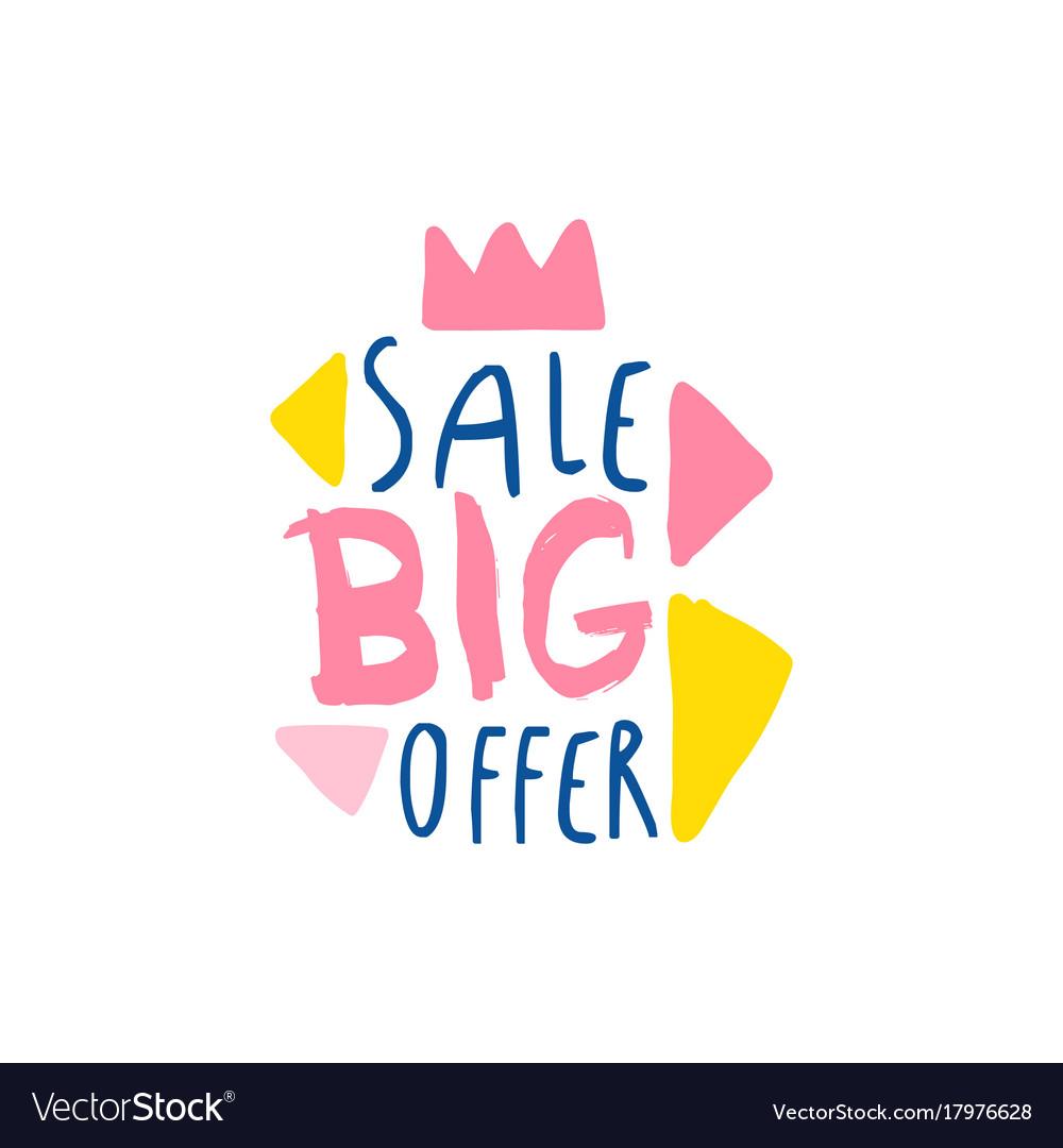 Big sale offer logo template special offer label vector image