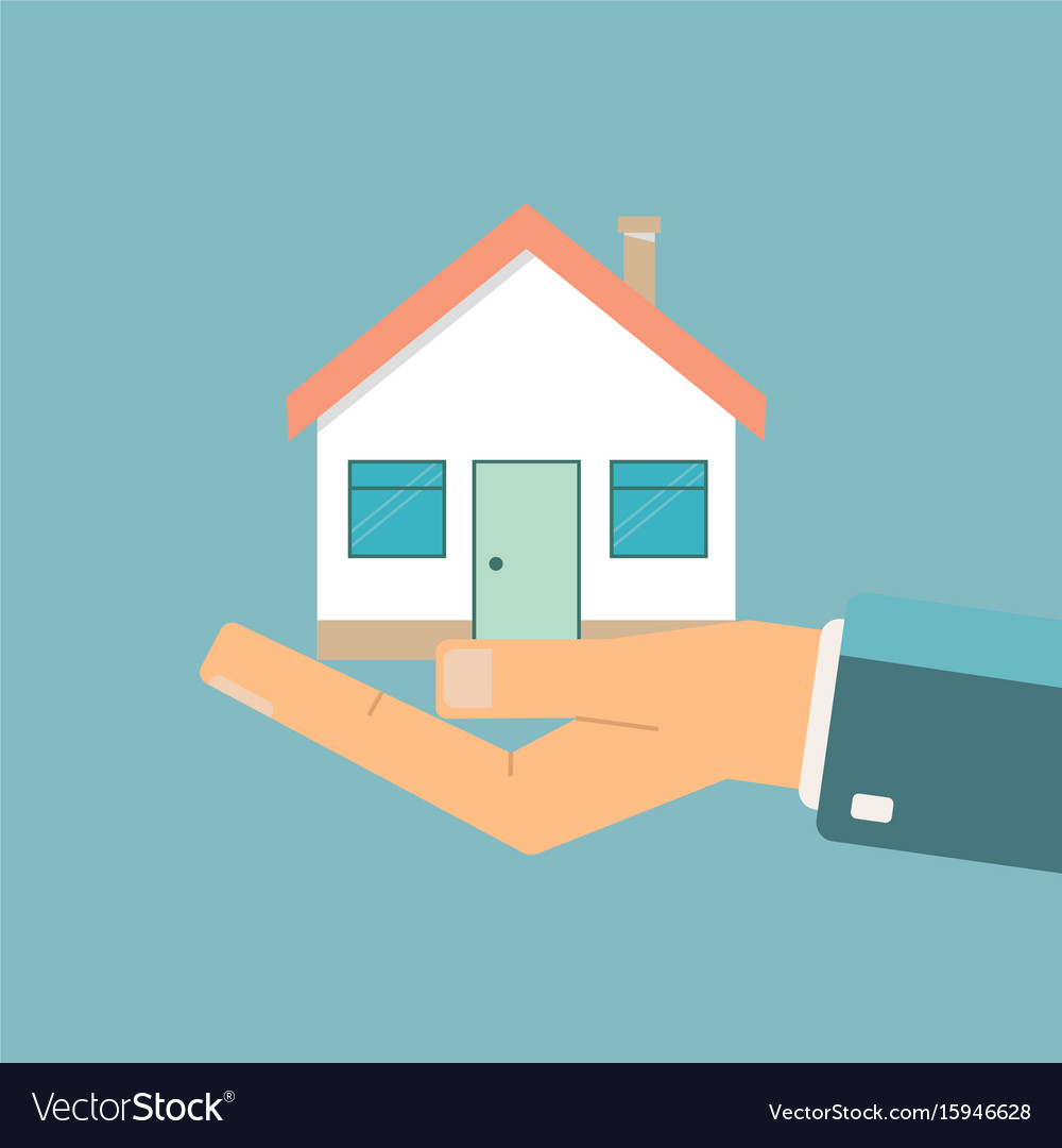 Businessman holding a house real estate offer vector image