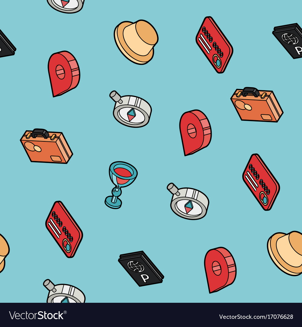 Traveling color outline isometric pattern vector image