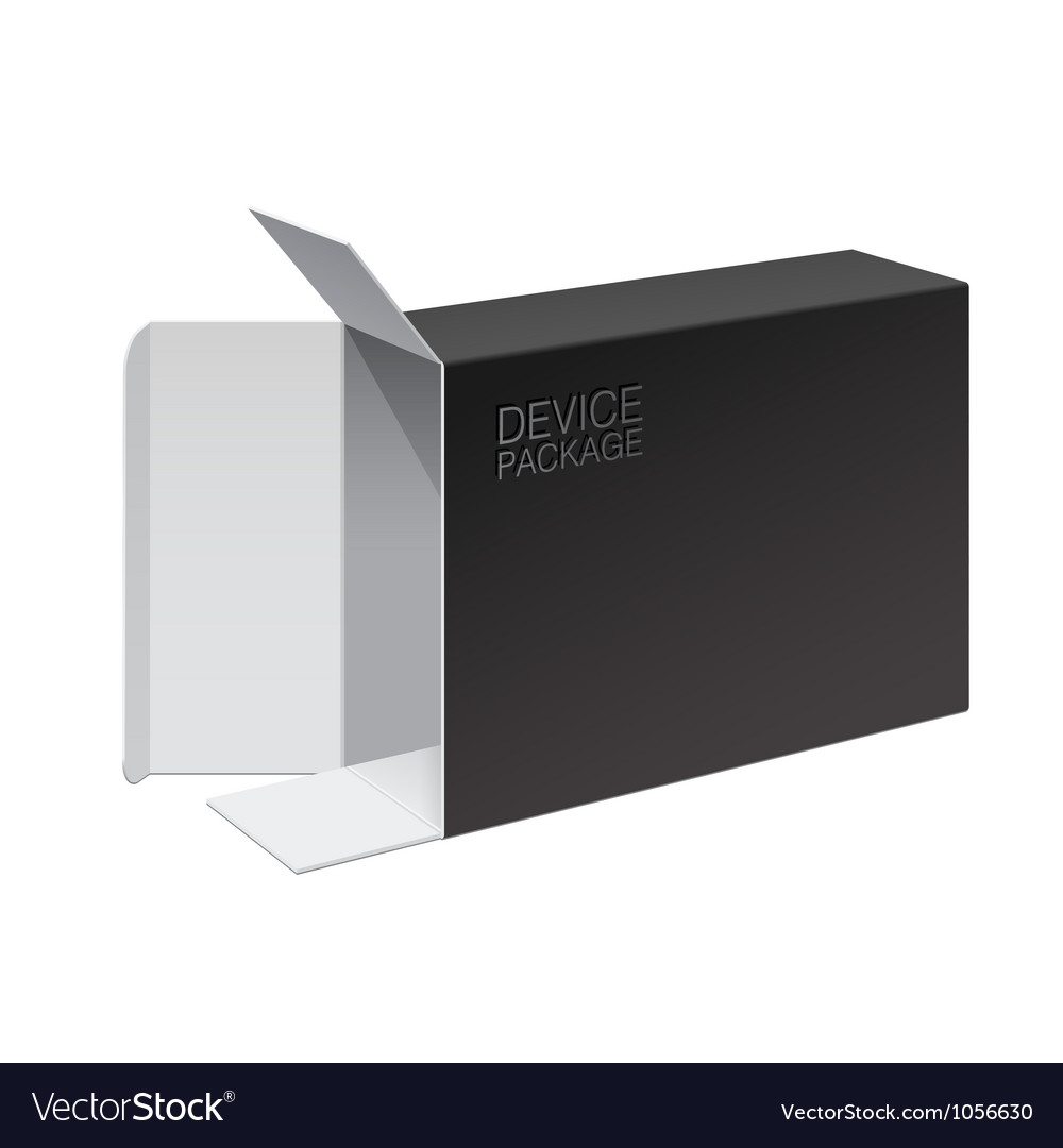 Black Package Box Opened lying on its side Vector Image