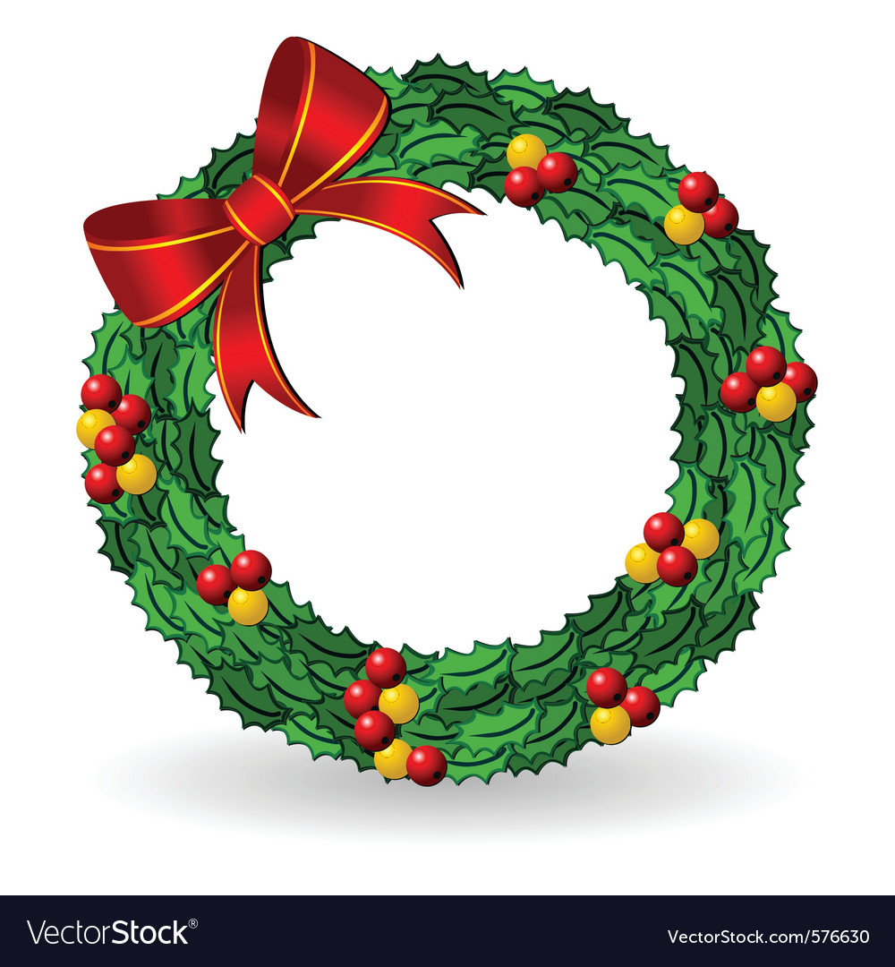 Why is holly a traditional christmas decoration - Christmas Holly Wreath Vector Image