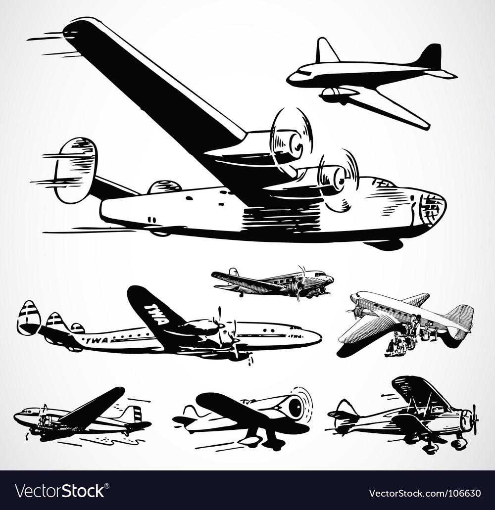 Retro airplanes vector image