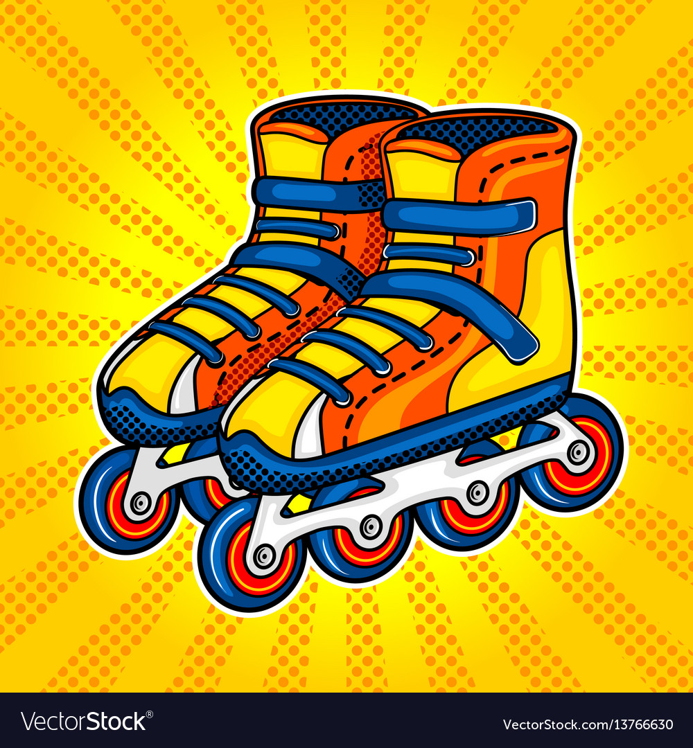 Roller skates comic book style vector image