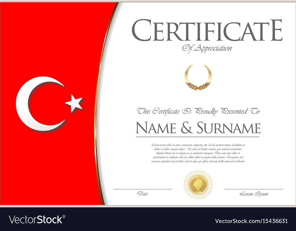 certificate or diploma turkey flag design vector image certificate or diploma turkey flag design vector image