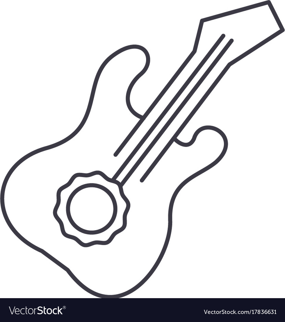 Guitar line icon sign on vector image
