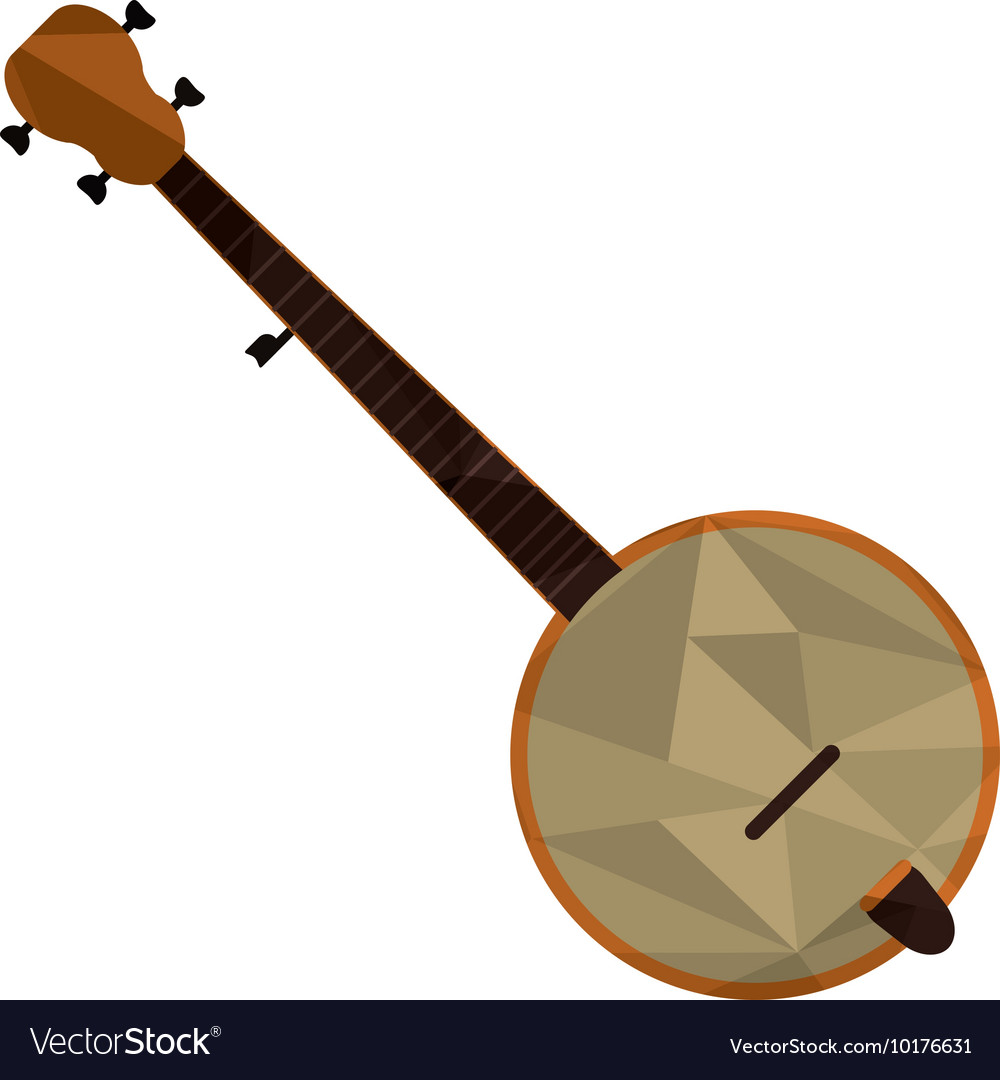 Polygon texture banjo icon vector image
