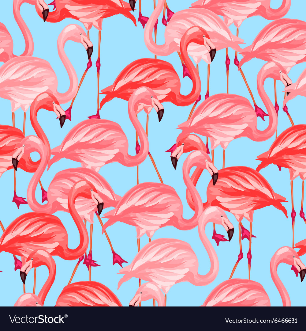 Tropical birds seamless pattern with pink vector image