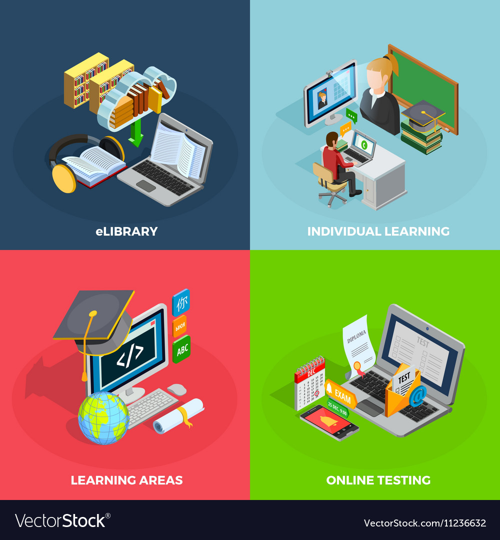 E-learning Concept Icons Set vector image