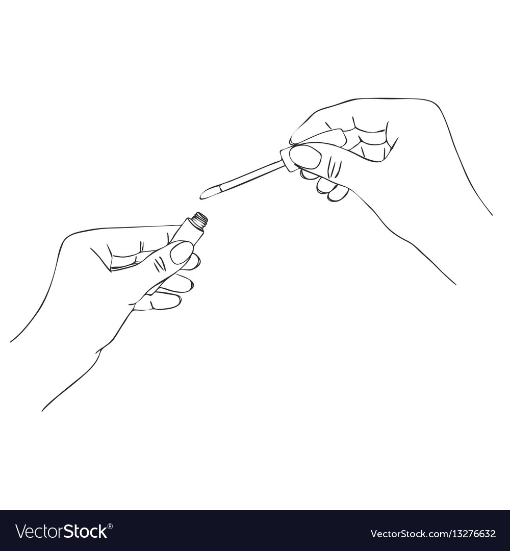 Hands with lip gloss tube vector image