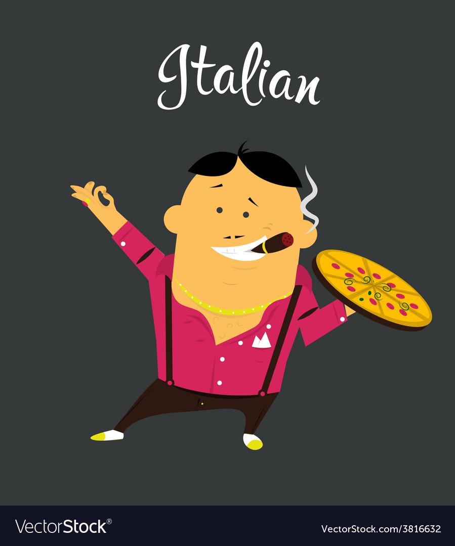 Italian man cartoon character citizen of the vector image