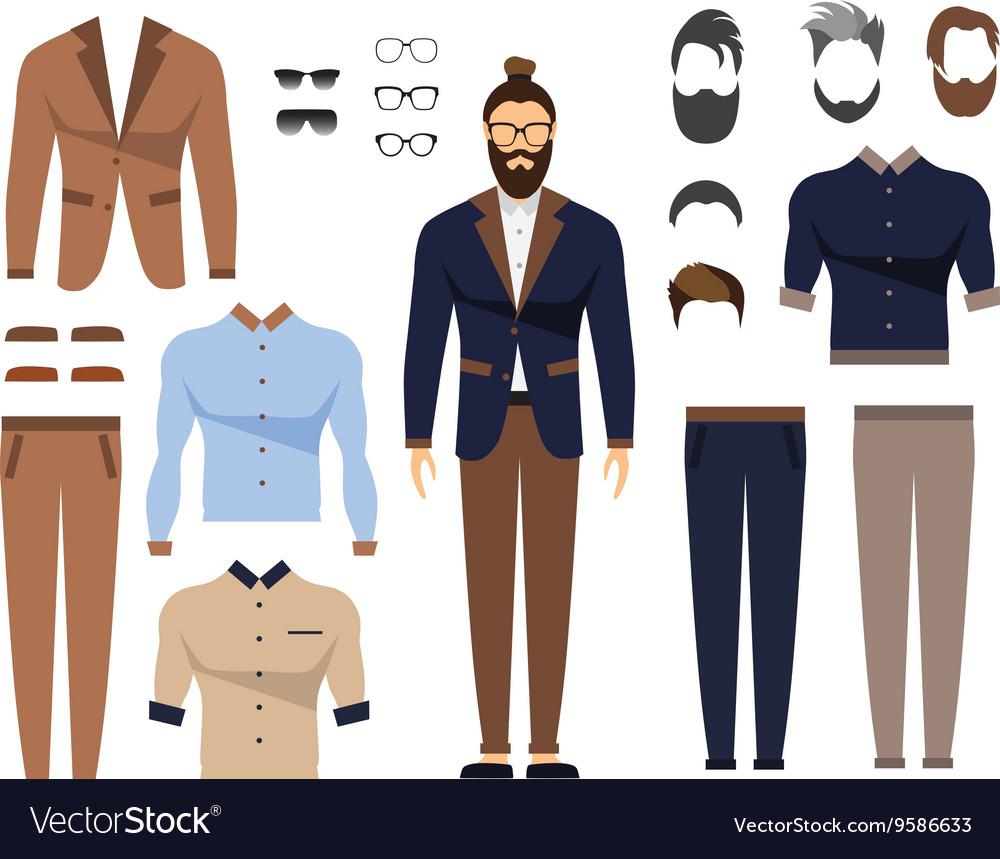 Shirt uniform design vector - Man In Office Clothes Stylish Uniform Design Set Vector Image