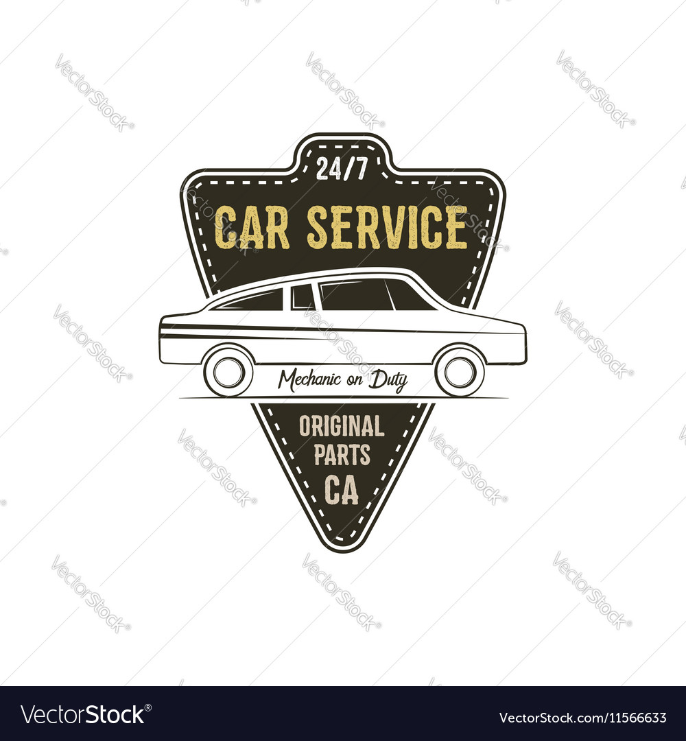 Car service label Vintage tee design graphics vector image