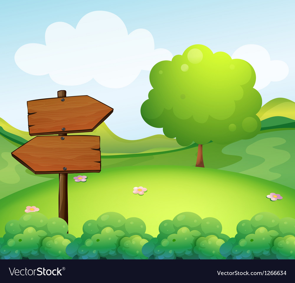 A wooden arrow board in the hill vector image