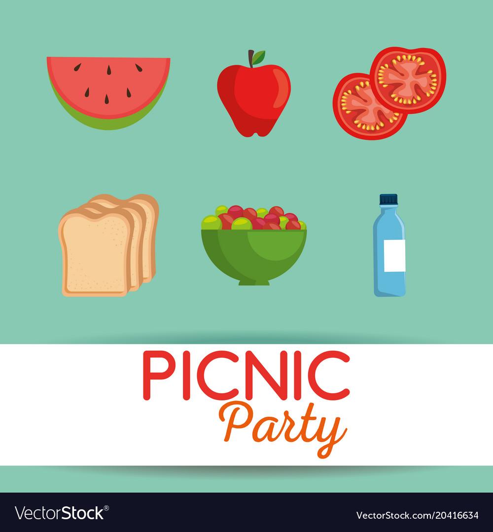 Picnic party invitation set icons royalty free vector image picnic party invitation set icons vector image stopboris Choice Image