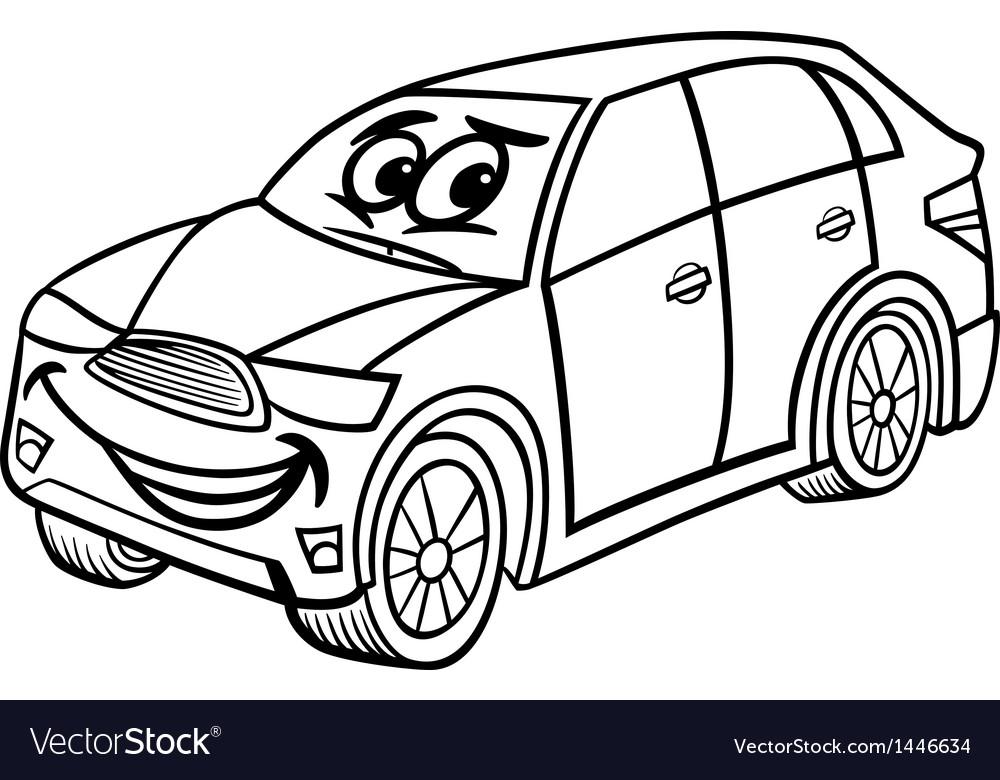 Suv Car Cartoon Coloring Page Royalty Free Vector Image